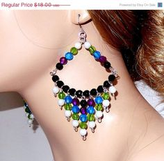 ON SALE 20 Large beaded earrings white blue black by NezDesigns