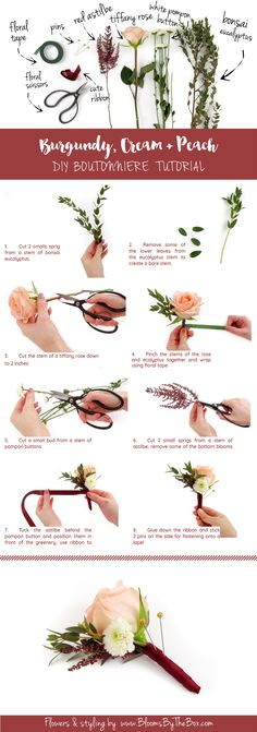 Easy step-by-step Burgundy, Cream + Peach DIY Wedding Boutonniere Tutorial with photos and shopping list! http://www.confettidaydreams.com/fall-burgundy-cream-peach-diy-wedding-boutonniere-tutorial/