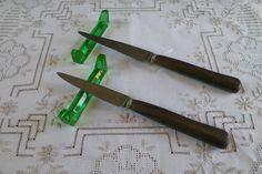 Lot de 2 couteaux de table anciens | Manche en ébène de Macassar | France vintage 1900s de la boutique LovelyFrance sur Etsy