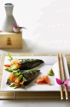food Japanese Recipes: Japanese Pickle Roll (Handroll, Temakisushi)