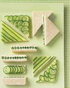 Make a graphic impression with a selection of geometric tea sandwiches. Spread cream cheese onto bread, and layer on thin slices or strips of cucumber (the key is to leave the colorful peel on), then cut into shapes. Blanched asparagus, sandwiched and sliced,