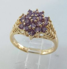 Ladies Amethyst CZ Cluster~18K Yellow Gold Overlay Ring~Size 9--Free Gift Box