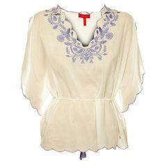 Bílá košile s výšivkou ve stylu 70. let. Folklórní motiv má romantický nádech. Bell Sleeves, Bell Sleeve Top, Tunic Tops, Spring, Women, Fashion, Hampers, Luxury, Moda