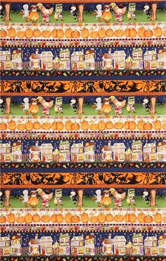 """Halloween fabric from """"Haunted House"""" with Trick or Treat kids, pumpkins etc., 'Boo-Ville Stripe' by Alexander Henry, Collection """"Haunted House"""", Made in Japan Dark Colors, Colours, Alexander Henry, Halloween Fabric, Halloween Backgrounds, Modes4u, Michael Miller, Cute Designs, Trick Or Treat"""