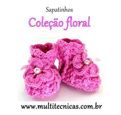 Sapatinho - Coleção Floral  Rosa escuro  Feito em crochê, com lã para bebê.  Cor: rosa escuro     Tamanho: 2 a 6 meses R$ 25,00