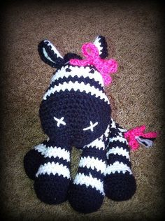 A super adorable plush Zebra! Handmade to order! *Approx tall & long **Made for Acrylic yarn & Premium Polyester Fiber Fill ***Open to custom orders of different colors! Crochet Animals, Crochet Toys, Crochet Baby, Crochet Zebra, Baby Girl Patterns, Precious Children, Pink Zebra, Learn To Crochet, Crochet Projects