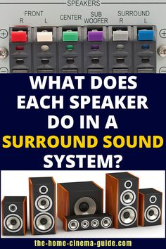 You've heard of surround sound. You know there are lots of speakers involved. But do you know the different types - and what they do? Let's find out. Home Cinema Room, Home Theater Setup, Home Theater Speakers, Home Theater Design, Theatre, Home Theater Surround Sound, Surround Sound Speakers, Surround Sound Systems, Best Speakers