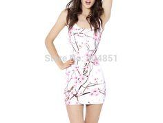 Brand New Sexy Women Casual Dress CHERRY BLOSSOM WHITE DRESS Pleated Print Dresses