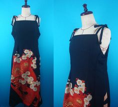 Black kimono jumper dress - original clothing that used kimono of vintage, US size 8 by PriscillaTokyo on Etsy
