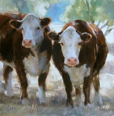 Country Gals by Stacey Turcotte Cow Painting, Painting & Drawing, Painting Trees, Painting People, Painting Flowers, Painting Lessons, Paintings I Love, Animal Paintings, Watercolor Animals