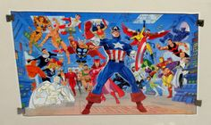 1989 Marvel Comics Avengers 34 by 22 poster: Captain America, Iron Man, Thor, Scarlet Witch, Vision, She-Hulk, Hawkeye, Sub-Mariner, Falcon, Black Panther, X-Men's Beast, Fantastic Four, Hercules