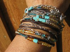 Boho Silver.......Endless Leather Beaded Wrap by fleurdesignz