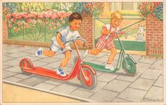 "Old Children's book illustration, by Hannie Holt....""The Scooter Race."""