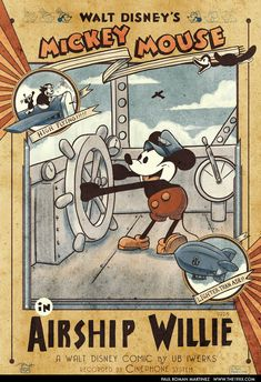 Vintage Mickey Mouse in Airship Willie Poster by PaulRomanMartinez