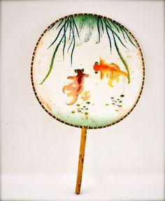 Vintage silk fan - asian fan - chinese hand painted goldfish orange green wall hanging decor