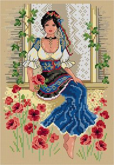 This gorgeous Italian beauty will transport you to warm, sunny days in the lovely Italian countryside. Stitch on a natural. Diy Bead Embroidery, Hand Embroidery Videos, Hand Embroidery Art, Flower Embroidery Designs, Cross Stitch Embroidery, Cross Stitch Tree, Simple Cross Stitch, Cross Stitch Flowers, Easy Cross Stitch Patterns