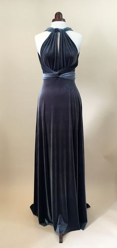 Prom dress ball gown bridesmaid dress sliver velvet by Valdenize