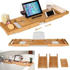 Bath Caddy, Bathtub, Ebay, Storage, Boards, Wood Ideas, Bathing, Standing Bath, Purse Storage