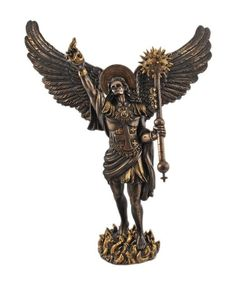 13 saint raphael archangel with spear statue pewter gold finish
