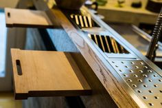 large kitchen: oak steel and cement for private home, detail.