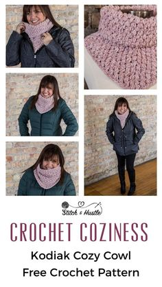Kodiak Cowl Free Crochet Pattern — Stitch & Hustle - Crochet scarves and shawls - Free Form Crochet, Crochet Cowl Free Pattern, Crochet Poncho, Crochet Scarves, Crochet Clothes, Crochet Baby, Crochet Patterns, Diy Crochet, Cowl Patterns