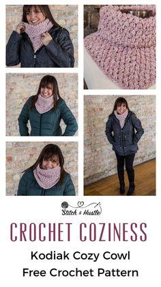Kodiak Cowl Free Crochet Pattern — Stitch & Hustle - Crochet scarves and shawls - Free Form Crochet, Crochet Cowl Free Pattern, Crochet Poncho, Crochet Scarves, Crochet Clothes, Crochet Stitches, Crochet Hooks, Crochet Baby, Crochet Patterns