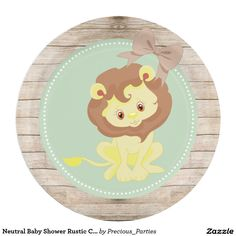 Neutral Baby Shower Rustic Country Custom Plate