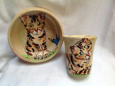Hand painted cat bowl and matching coffee mug signed by Debby Carman Faux Paw Productions by FauxPawProductions on Etsy