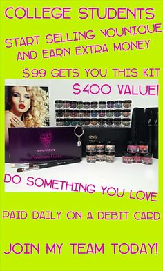 Going back to campus??? Younique Products Fastest growing home based business! Join my TEAM!  Younique Make-up Presenters Kit! Join today for only $99 and start your own home based business. Do you love make-up?  So many ways to sell and earn residual  income!! Your own FREE Younique Web-Site and no auto-ship required!!! Fastest growing Make-up company!!!! Start now doing what you love!  https://www.healthy3dlashes.com