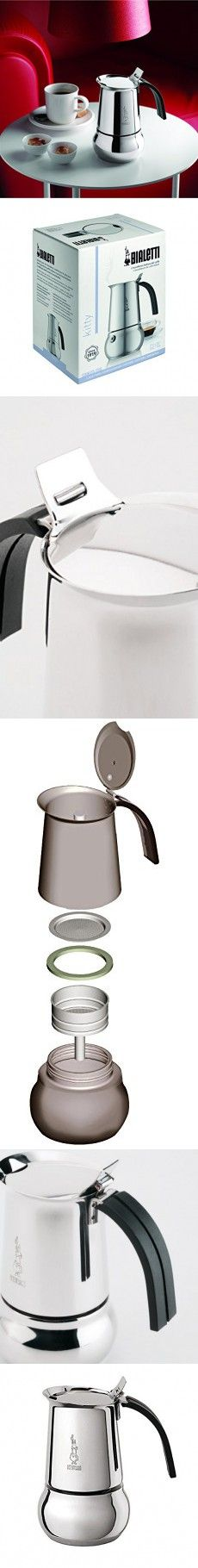 Bialetti 06812 Kitty Coffee Maker, Stainless Steel, 4-Cup(8 oz)