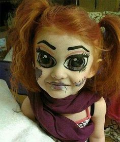 This is cool but scary.... Crazy doll makeup Halloween costume