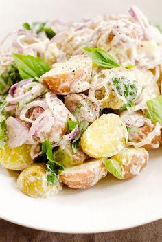 Mixed New Potato Salad With Sweet Basil and Shallots