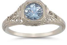 applesofgold.com - Vintage Filigree Blue Topaz Ring in .925 Sterling Silver