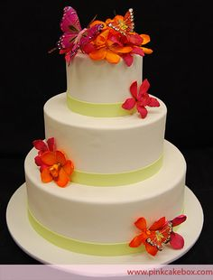 Butterfly Orchid Wedding Cake
