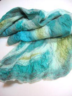 Nuno Felted Silk Scarf  Sea Foam by realfaery on Etsy, $68.00