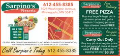 Get a FREE Sarpino's Pizzeria Minneapolis #pizza with this #hot #deal! http://gobuylocal.com/offerseo/Minneapolis-MN/Sarpino%27s_Pizzeria/3088/2923/