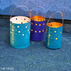 Don't let those tin cans sit unloved in the recycling bin. Turn them into patio decor! Create your own tin can crafts -- DIY luminaries for Earth Day.