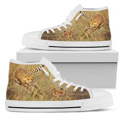 Cheetah Chasing Baby Antelope Men's High Tops  Custom printed high tops. Amazing colors and print quality. Lightweight canvas construction for maximum comfort. High quality EVA sole for exceptional traction and durability. Made with love just for you. Show Off Your Wild Side Today! #hightops #cheetahgear #WildAnimalist Top Shoes, Men's Shoes, Mens High Tops, Jacket Style, Snug Fit, Converse Chuck Taylor, High Top Sneakers, Just For You, Lace Up