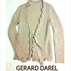 GERARD DAREL - WHEAT COLOR 100% WOOL TIE CARDIGAN GERARD DAREL WHEAT COLOR 100% WOOL TIE CARDIGAN Pre-Loved  *   SZ 1 SMALL    A lot of attention to detail in this beautiful 100% Wool SWEATER CARDIGAN. Rolled Wool TRIM and Tie Front. Size 1 . I would think that's a small. His brand is in top named stores like Bloomingdale's. GERARD DAREL Sweaters Cardigans