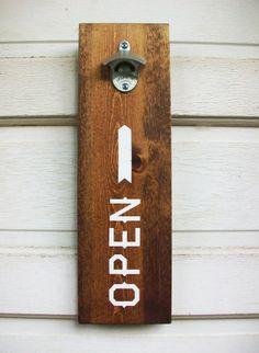 Wood Wall Mount Beer Bottle Opener Screen by CoffeeDiemDryGoods, $30.00