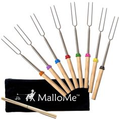 MalloMe Marshmallow Roasting Smores Sticks - Camping Accessories For Campfire Fire Pit Cooking - Set of 8 Forks, FREE Storage Bag, 10 Bamboo Skewers – Three Wolves Provisions Marshmallow Roasting Sticks, Roasting Marshmallows, Bbq Skewers, Bamboo Skewers, Fire Pit Accessories, Camping Accessories, Smores Kits, Fire Pit Cooking, Gourmet