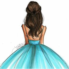 Cute brunette in blue dress drawing