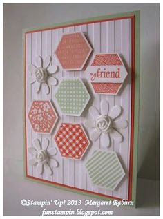 Fun Stampin' with Margaret!  Margaret Raburn.  Six Sided Sampler, Blossom Party Die and Simply Pressed Clay flower centers.  CCMC260 color challenge
