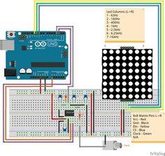 Arduino & 8x8 dot matrix vu meter
