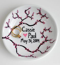 Spring Cherry Blossom Ring Dish Personalized with your names and wedding date. Hand-painted by MaryElizabethArts.com $25