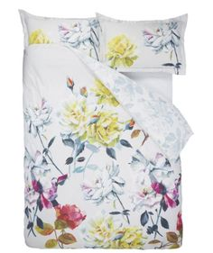 FLORAL GOLD /& OFF YELLOW STUNNING EMBELLISHED LACE DETAIL ROUEN DUVET COVER SET