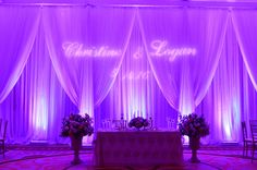 Event Type: wedding Event Date: 05/14/2016 Event Location: The Sandpearl Resort, Clearwater Beach Services Provided: Pipe & Drapes, Uplighting, Custom GOBO Monogram, Color Changing Lights with Controller