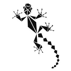 An easy geometric tattoo design of a gecko to be used as a first girl's tattoo.