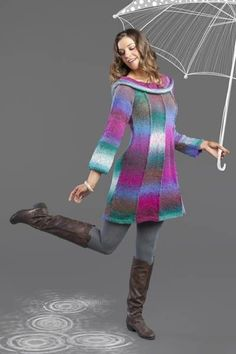 Free knitting pattern for Umbrella Dress Pattern - Designed by Universal Yarn Design Team, the body is comprised of 8 panels; 4 for the Front and 4 for the Back. Each sleeve is comprised of 2 panels. The collar is knit separately in the round. Small (Medium, Large, 1X, 2X). Perfect for multi color yarn