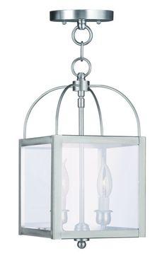Livex Lighting 4041 2 Light 120 Watt Ceiling Mount Convertible Chain Hung Foyer Brushed Nickel Indoor Lighting Pendants Lantern